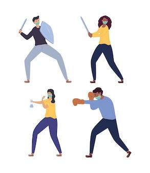 Gruppo di persone che indossano maschere mediche che combattono contro l'illustrazione