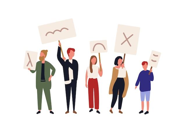 Gruppo di attivisti politici che tengono striscioni e cartelli. persone che prendono parte a picchetti, raduni di massa, parate o raduni, manifestazioni. uomini e donne che protestano. illustrazione di vettore del fumetto piatto.