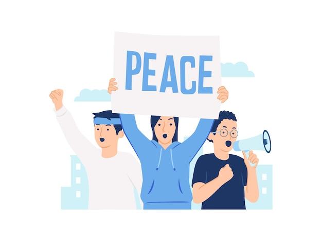 Gruppo di dimostrazione di manifestanti con cartello e megafono mani e pugno alzato nell'illustrazione del concetto di aria