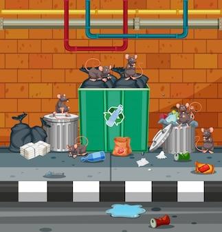 Gruppo di topo in strada sporca