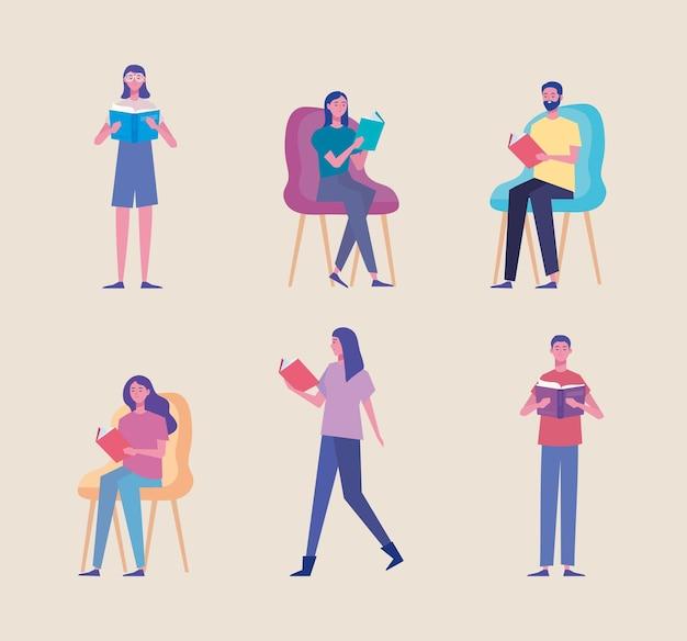 Gruppo di lettori che leggono libri in piedi e seduti personaggi illustrazione design