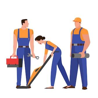 Gruppo di riparatori in uniforme. professione tecnica. carattere che tiene strumento professionale per il lavoro. illustrazione in stile