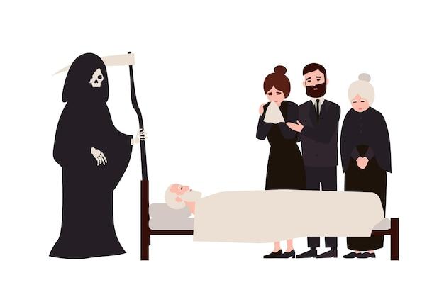 Gruppo di persone tristi vestite con abiti da lutto e grim reaper con falce in piedi vicino al morto. parenti in lutto che piangono vicino al membro della famiglia deceduto. illustrazione di vettore del fumetto piatto.