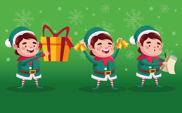 Gruppo di aiutanti di babbo natale con illustrazione di personaggi regalo e campane