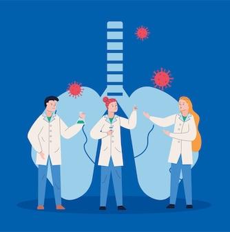 Un gruppo di scienziati con polmoni e particelle covid19 ricerca il vaccino