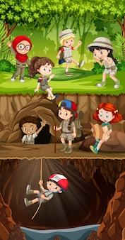 Gruppo di esploratori che esplorano la foresta