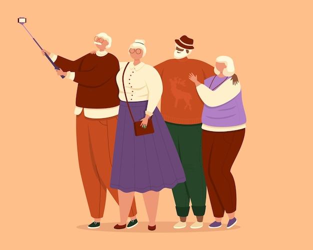 Gruppo di persone anziane che si fanno un selfie insieme illustrazione su sfondo arancione chiaro