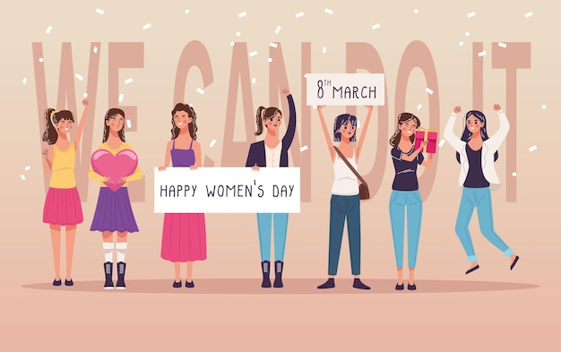 Un gruppo di sette belle giovani donne che celebrano l'illustrazione