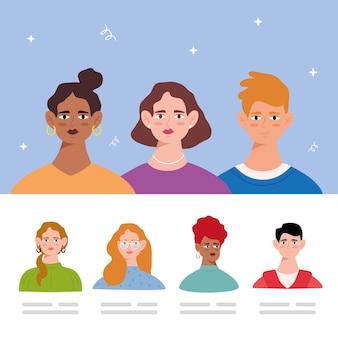 Gruppo di sette personaggi di avatar di giovani