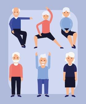 Gruppo di sei persone anziane