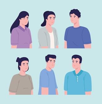 Gruppo di sei persone