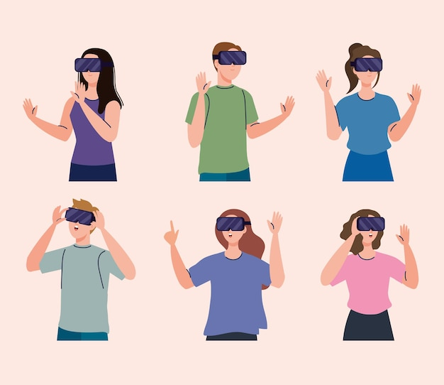 Gruppo di sei giovani che utilizzano dispositivi tecnologici di maschere virtuali di realtà