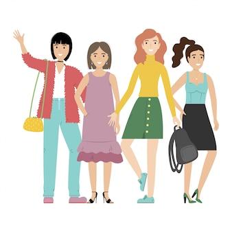 Gruppo di ragazze o studenti sorridenti che stanno insieme.