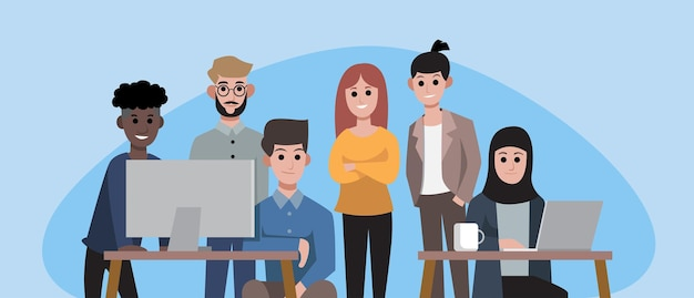 Gruppo di impiegati sorridenti o uomini d'affari