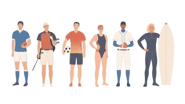 Un gruppo di sportivi. sport di squadra e individuali.