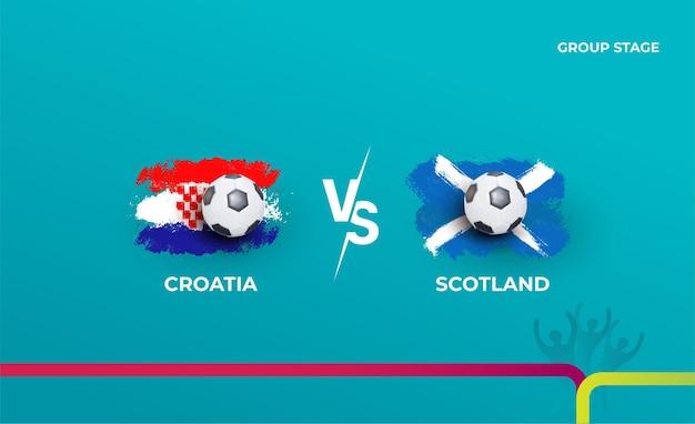 Fase a gironi croazia e scozia. illustrazione vettoriale delle partite di calcio 2020