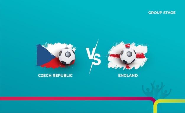 Fase a gironi repubblica ceca e inghilterra. illustrazione vettoriale delle partite di calcio 2020