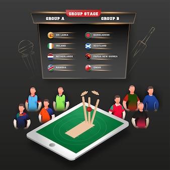 Fase a gironi a vs b elenco con giocatori di cricket senza volto e palla colpisce il ceppo del wicket (esaurito) sullo schermo dello smartphone su sfondo nero.