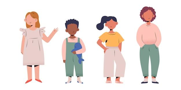 Gruppo di bambini alla moda in fila, illustrazione di bambini alla moda