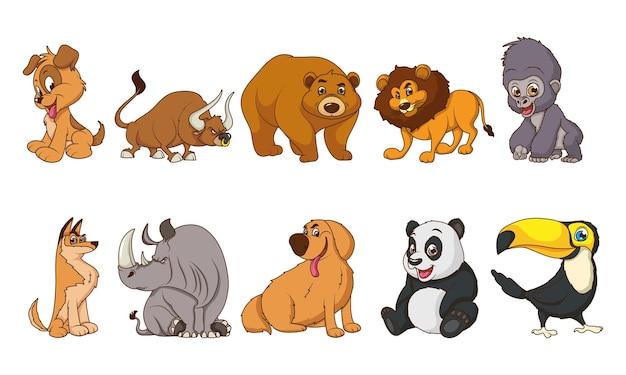 Gruppo di dieci animali personaggi dei cartoni animati comici