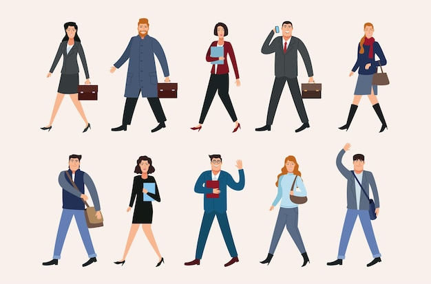 Un gruppo di dieci persone di affari che camminano indietro all'illustrazione dei caratteri dell'ufficio