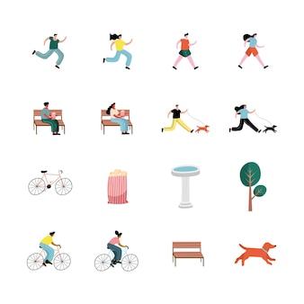 Un gruppo di dieci persone che praticano attività caratteri illustrazione design
