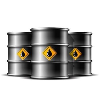 Gruppo di tre barile di metallo nero standard per la conservazione del petrolio greggio su sfondo bianco.
