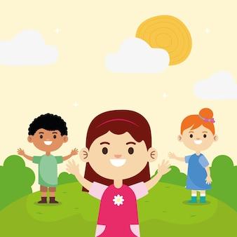 Un gruppo di tre piccoli bambini interrazziali felici nell'illustrazione del campo