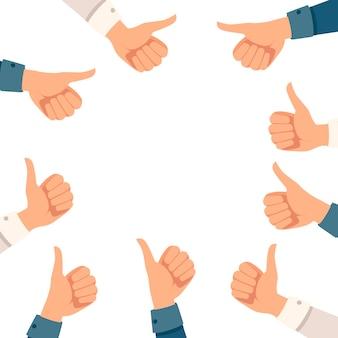 Gruppo di pollici in su le mani con l'illustrazione piana di vettore della manica della tuta su priorità bassa bianca.