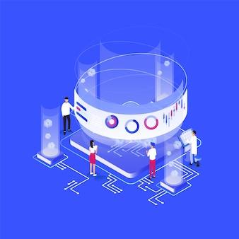 Gruppo di minuscole persone o analisti in piedi attorno a un circuito integrato gigante, grafici, diagrammi, grafici su schermo virtuale
