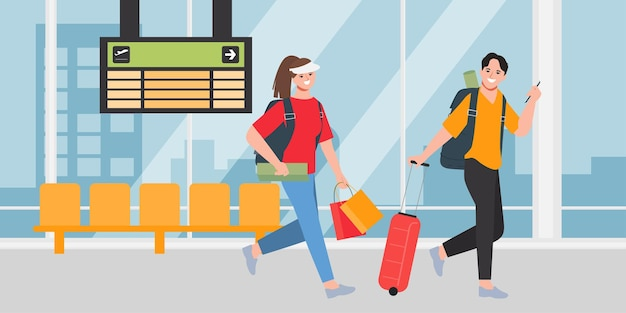 Gruppo di turisti con zaini che camminano in aeroporto.