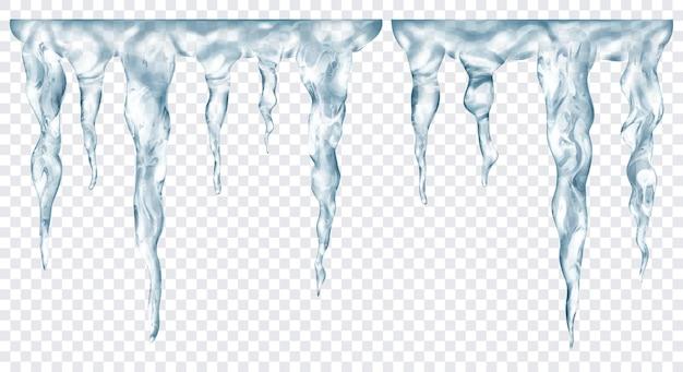 Gruppo di ghiaccioli realistici grigi traslucidi di diverse lunghezze, collegati in alto, isolati su sfondo trasparente. trasparenza solo in formato vettoriale