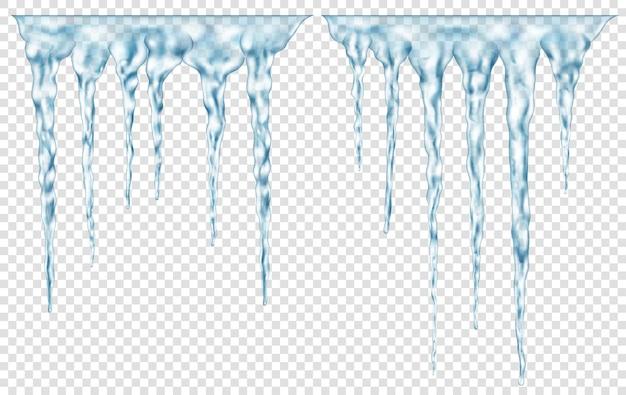 Gruppo di ghiaccioli realistici azzurri traslucidi di diverse lunghezze collegati in alto. da utilizzare su sfondo chiaro. trasparenza solo in formato vettoriale