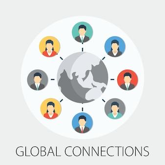 Gruppo di utenti attorno alla connessione di rete globale