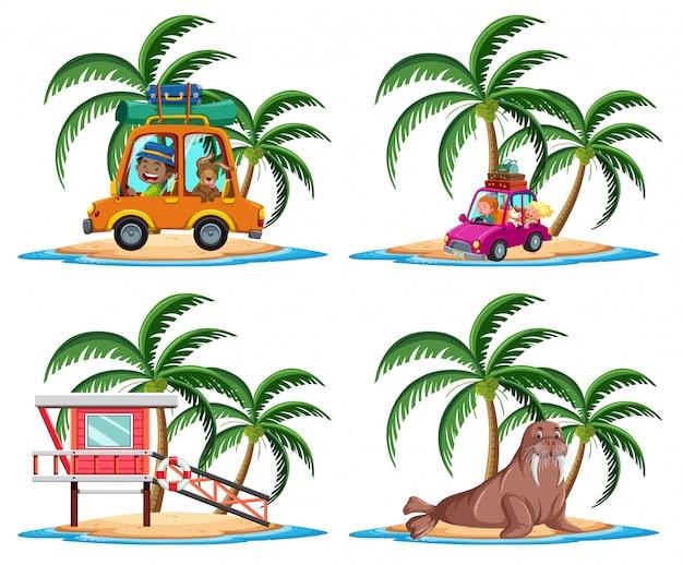 Gruppo di attività di vacanza sul personaggio dei cartoni animati dell'isola tropicale su priorità bassa bianca