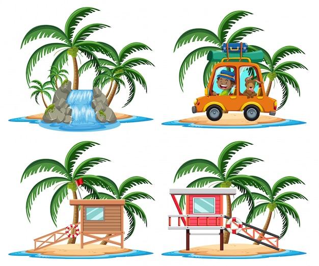 Gruppo di posto di vacanza sul personaggio dei cartoni animati tropicale dell'isola su fondo bianco