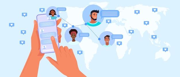 Videochiamata di gruppo e riunione virtuale con schermo del computer, avatar di persone diverse