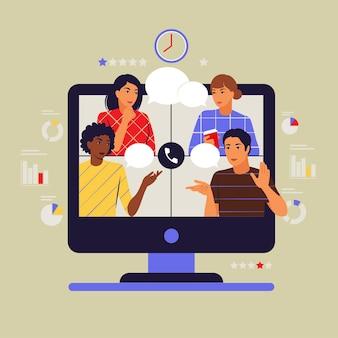 Concetto di video di gruppo. riunione virtuale collettiva o videoconferenza. illustrazione vettoriale. appartamento.