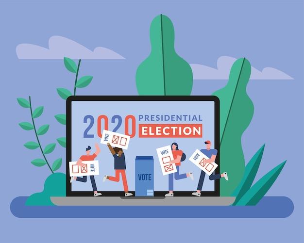 Gruppo di elettori con schede di voto nel disegno dell'illustrazione di vettore del computer portatile