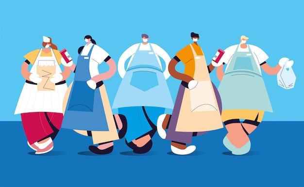 Gruppo di camerieri con maschera e uniforme