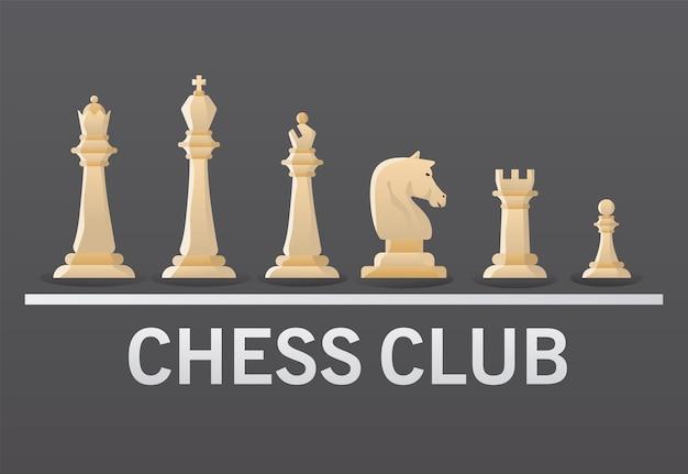 Gruppo di pezzi degli scacchi bianchi e disegno di illustrazione vettoriale di iscrizione del club
