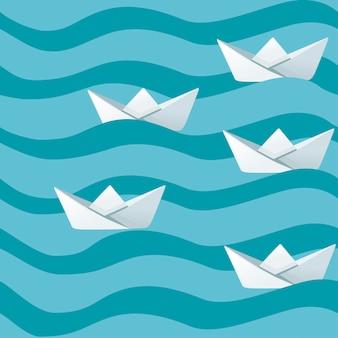 Gruppo di barche di carta piegate bianche sull'illustrazione piana di vettore delle onde del mare astratte.