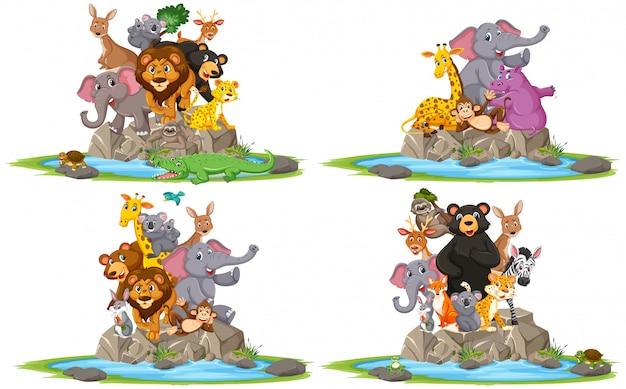 Gruppo di animale selvatico che posa sul personaggio dei cartoni animati di pietra su fondo bianco