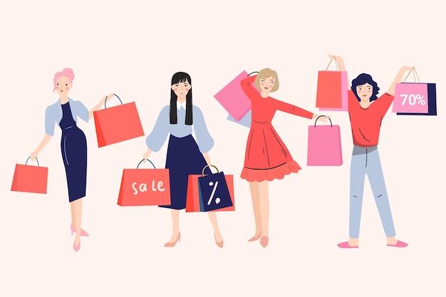 Gruppo di donna che trasportano la borsa della spesa. banner di concetto di vendita