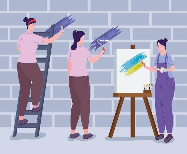 Gruppo di donne artiste
