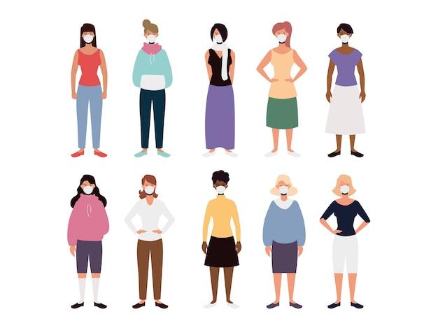 Gruppo di donne nell'illustrazione di maschere facciali mediche protettive