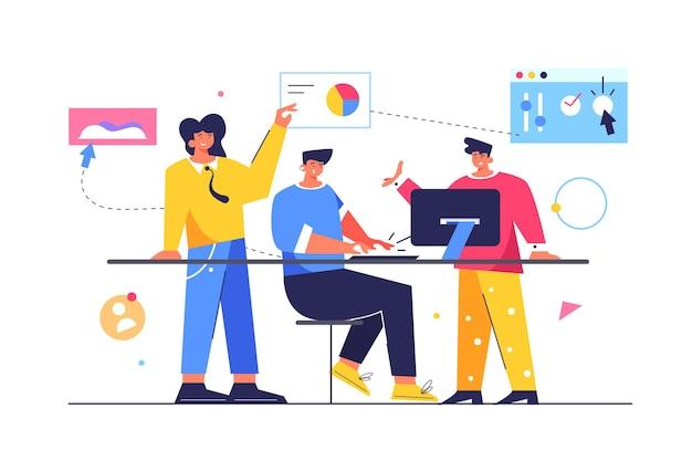 Gruppo di lavoratori che lavorano con file e dati, ragazzo seduto al tavolo e lavora al computer isolato su sfondo bianco, illustrazione piatta
