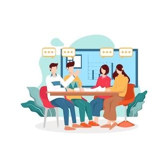 Gruppo di giovani imprenditori in una riunione in ufficio