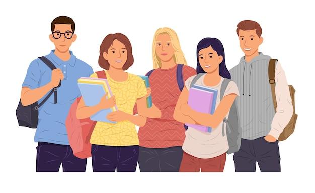 Gruppo di giovani ragazze e ragazzi studenti in possesso di libri.