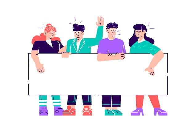 Gruppo di giovani e donne che stanno insieme e che tengono insegna in bianco. le persone che prendono parte a sfilate o manifestazioni. manifestanti o attivisti maschi e femmine. illustrazione variopinta del fumetto di stile piano